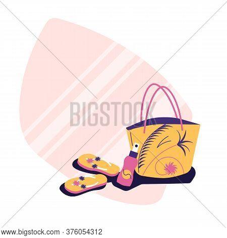 Beash Accessories - Beach Bag, Flip Flops, Suntan Cream - Sticker Style Illustration, Flat Style, Su