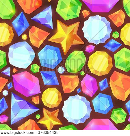 Crystals Color Seamless Pattern. Shiny Jewelry Of Various Geometric Shapes Beautiful Screensaver Wal