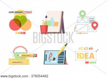Designer Graphic Tools Set. Creative Color Selection Palette Development Website Layout Canvas With