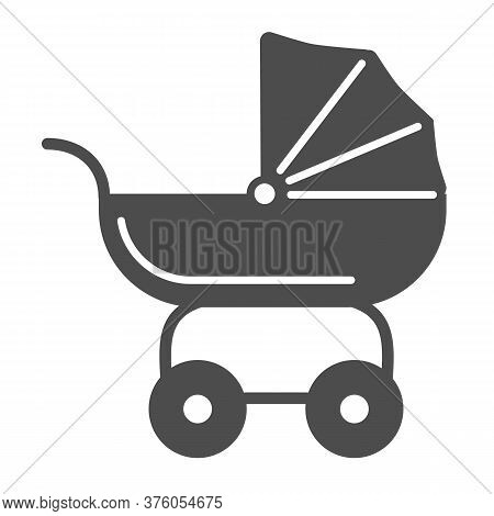 Pram For Dolls Solid Icon, Kids Toys Concept, Toy Baby Carriage Sign On White Background, Baby Doll