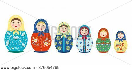 Matryoshka With Tracery Set. Traditional Colored National Russian Toy Wooden Girl With Colorful Flow
