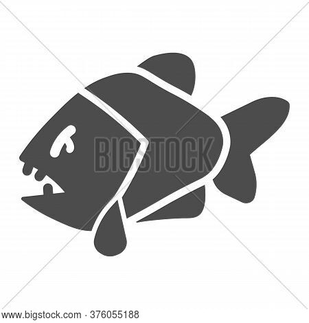 Piranha Solid Icon, Ocean Concept, Aggressive Fish Predator Sign On White Background, Piranha Icon I
