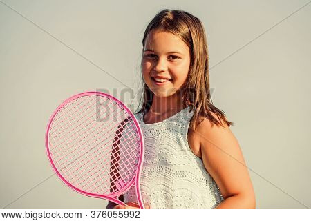 Sporty Beauty. Girl With Tennis Racquet. Summer Sport Activity. Energetic Child. Happy And Cheerful.