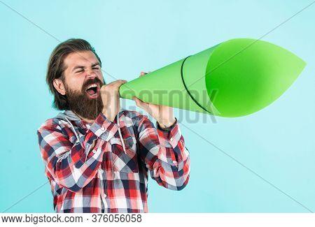 Make Voice Louder. Bearded Man Shout In Megaphone. Man With Paper Loudspeaker. Freedom Of Speech. Ad