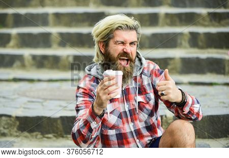 Pure Pleasure. Hipster Relax On Stairs. Having Rest. Caffeine Dose. Good Mood. Bearded Man Drink Cof