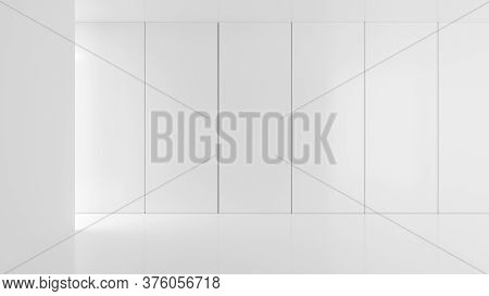Empty, Abstract, Modern White Walls Room With Light From The Left And Backwall Panels Background - G