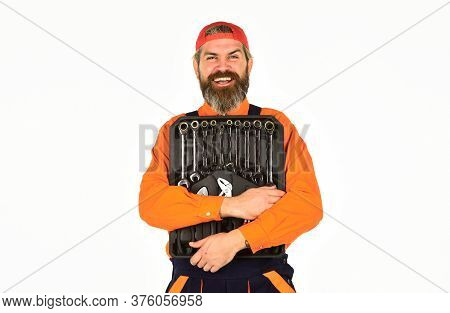 Handyman Concept. Professional Equipment. Toolbox Talk. Worker Repairer Repairman Handyman Carrying
