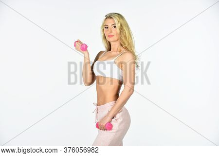 Sport Training. Healthy Body. Girl In Gym With Dumbbells. Girl Exercising. Motivation. Feel Yourself