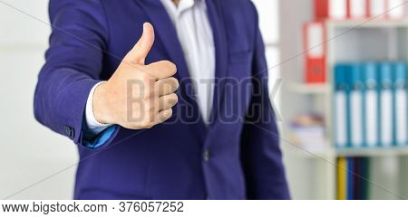 Successful Career. Well Done. Good Job. Male Hand Show Thumbs Up Sign. Success And Approval Concept.