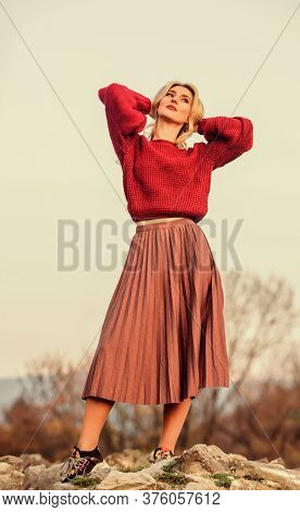 Messy Chic Style. Gorgeous Lady Feeling Cozy In Woolen Sweater. Trendy Clothes. Woman Warm Sweater N