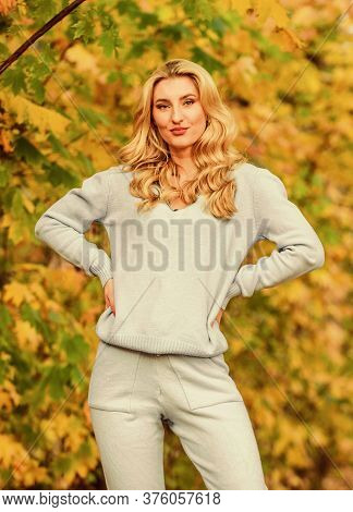 Sporty Girl. Girl Relaxing In Nature Wearing Knitwear Suit. Clothes For Rest. Feel Practicality And