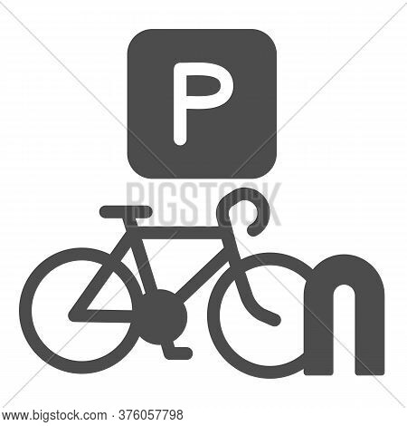Parking For Cyclists Solid Icon, Outdoor Sport Concept, Parking For Bike Sign On White Background, B