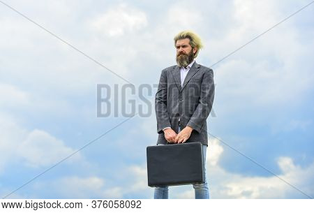 Waiting For Future. Bearded Man Show Office Briefcase. Good Business Deal. Successful Business Conce