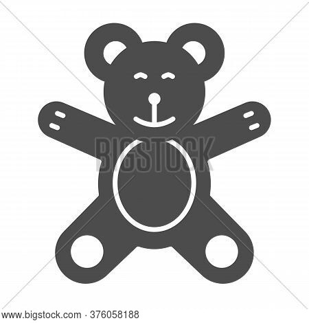 Teddy Bear Solid Icon, Kids Toys Concept, Plush Toy Sign On White Background, Little Teddy Bear Icon