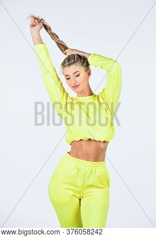 Comfy Style For Daily Life. Feel So Sporty. Girl In Training Clothes. Fashionable Sportswear. Girl I