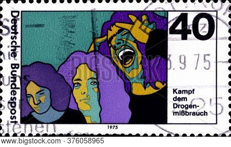 02 11 2020 Divnoe Stavropol Territory Russia The Postage Stamp Germany 1975 Drug Abuse Campaign To F