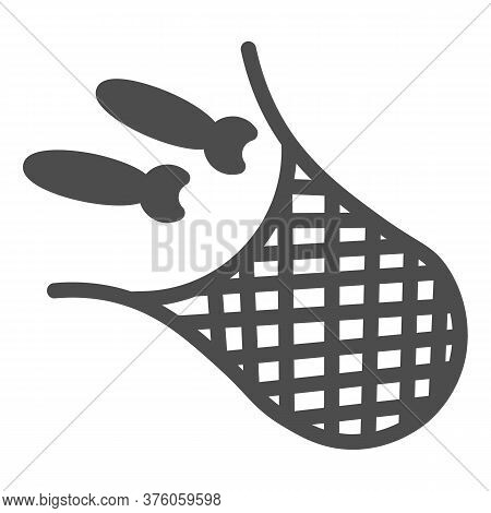 Net With Fish Solid Icon, Fishing Concept, Fishnet Sign On White Background, Fishing Net Icon In Gly