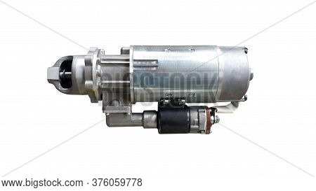 Starter For A Car With Solenoid Isolated On White Background. Spare Parts.