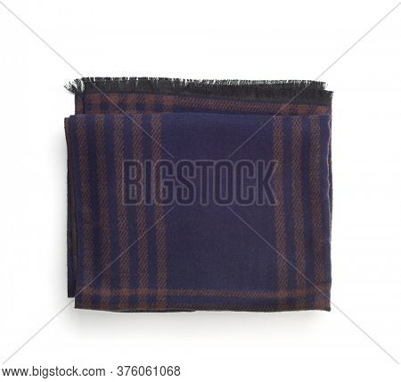 Top view of folded woolen blue scarf isolated on white