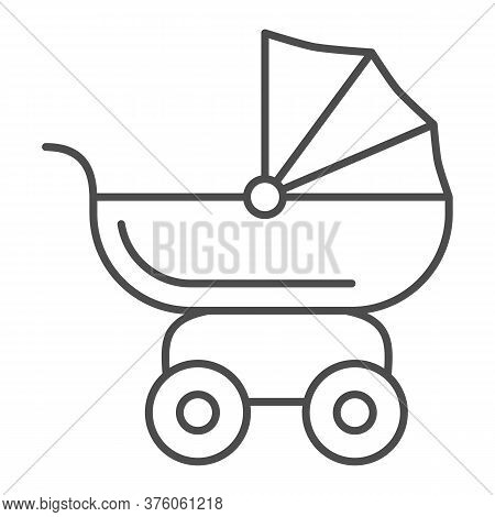 Pram For Dolls Thin Line Icon, Kids Toys Concept, Toy Baby Carriage Sign On White Background, Baby D
