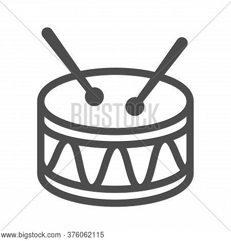 Drum Line Icon, Kids Toys Concept, Drum Toy Sign On White Background, Snare Drum Icon In Outline Sty