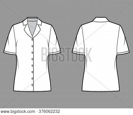 Pajama Style Blouse Technical Fashion Illustration With Notched Lapel Collar, Short Sleeves, Loose F