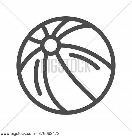 Ball Line Icon, Kids Toys Concept, Beachball Sign On White Background, Children Striped Ball Icon In