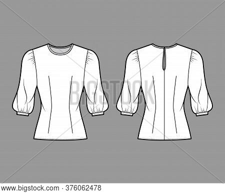 Blouse Technical Fashion Illustration With Round Neckline, Puffy Mutton Sleeves, Fitted Body, Side Z