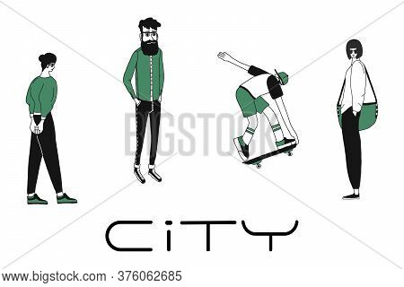 Cartoon Characters Of Young People In Various Lifestyle, Standing In Casual Dresses. Flat Design, Is