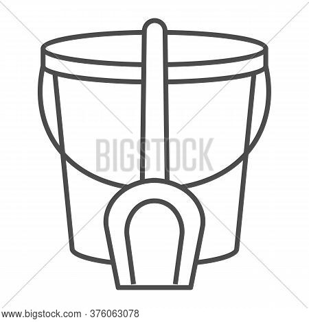 Bucket And Spatula Thin Line Icon, Kids Toys Concept, Toys For Sandbox Sign On White Background, Tro