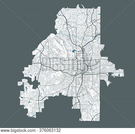 Atlanta Map. Detailed Vector Map Of Atlanta City Administrative Area. Poster With Streets And Water