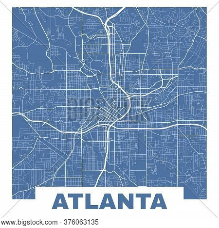 Atlanta Map. Vector Map Of Atlanta City Streets. Poster On Dark Blue Background.