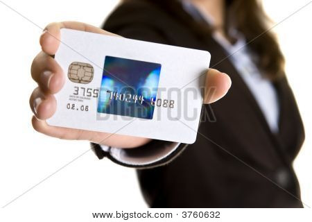 Businesswoman Showing Visa Credit Card