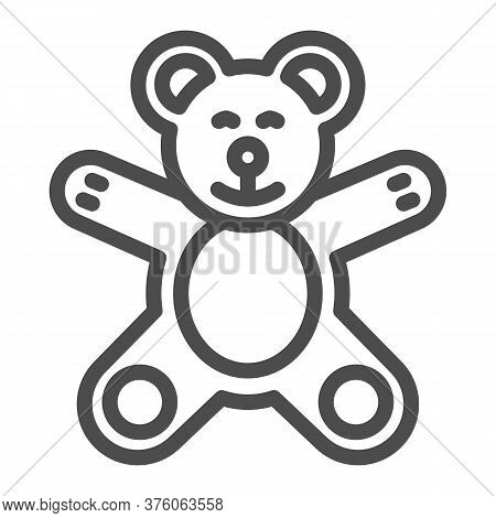 Teddy Bear Line Icon, Kids Toys Concept, Plush Toy Sign On White Background, Little Teddy Bear Icon
