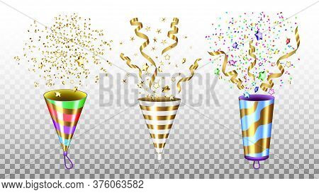 Party Popper Exploding Accessories Set Vector Illustration