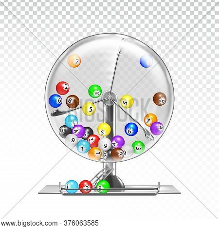 Lottery Machine With Lotto Balls Inside Vector Illustration