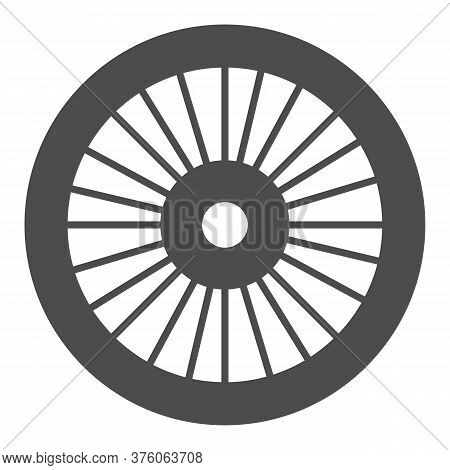 Bicycle Wheel Solid Icon, Bicycle Parts Concept, Bike Wheel Sign On White Background, Parts And Deta