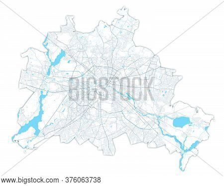 Berlin Map. Detailed Vector Map Of Berlin City Administrative Area. Poster With Streets And Water On