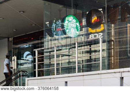 Bangkok, Thailand - 30 Apr 2020, The Starbucks Retail Still Opens The Light Box Logo In The Covid-19
