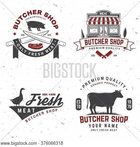 Set Of Butcher Shop Badge Or Label With Cow, Pig, Goose . Vector Illustration. Vintage Typography Lo