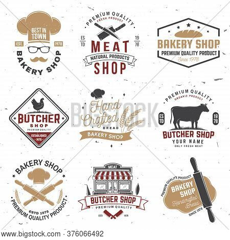 Set Of Butcher Shop And Bakery Shop Badge, Label. Vector. Vintage Typography Logo Design With Cow, C