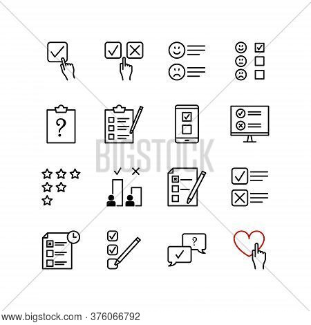 Set Of Questionnaire And Survey Vector Icon. Contains Such Icons As List, Comment, Customer Reviews,