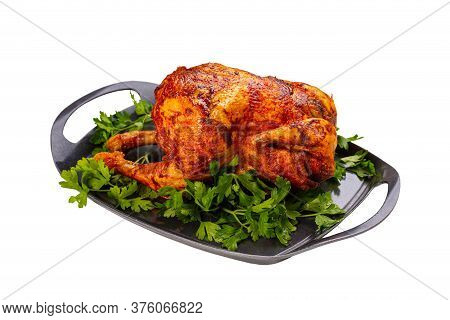 Grilled Fried Roast Chicken On Iron Plate, White Background