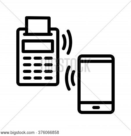 Nfc Payment Outline Vector Icon. Online Transaction. For Web Design And Printing.