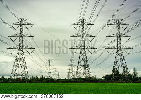 High Voltage Electric Pylon And Electrical Wire At Green Rice Field And Tree Forest. Electricity Pyl