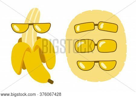 Set Of Elements For Design. Funny Banana In Glasses. Different Glasses. Yellow Delicious Fruit For S
