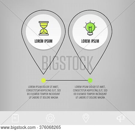 Infographics Circles With 2 Steps, Icons. Flatline Vector Template. Can Be Used For Two Diagrams, Bu