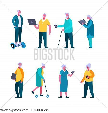 Set Of Elderly Cartoon People Enjoying Modern