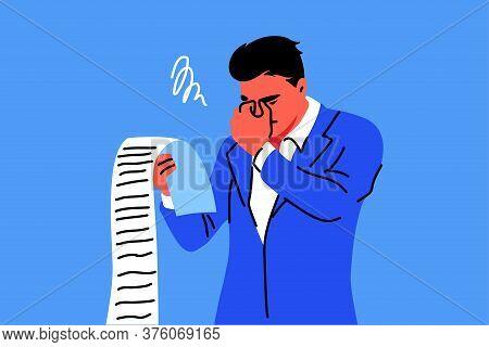 Business, Mental Stress, Bankruptcy, Debt Concept. Young Stressful Sad Businessman Clerk Manager Hol