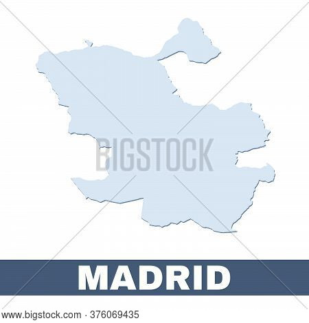 Madrid Outline Map. Vector Map Of Madrid City Area Within Its Borders. Grey With Shadow On White Bac